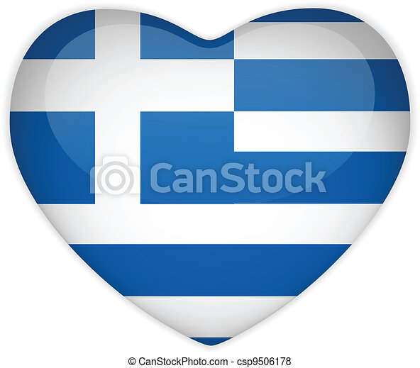 Greece Flag Heart Glossy Button - csp9506178