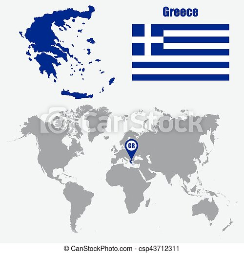 Greece map on a world map with flag and map pointer vector greece map on a world map with flag and map pointer vector illustration gumiabroncs Choice Image