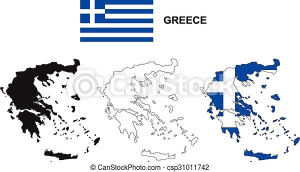 Greece map vector, greece flag vector, isolated greece.