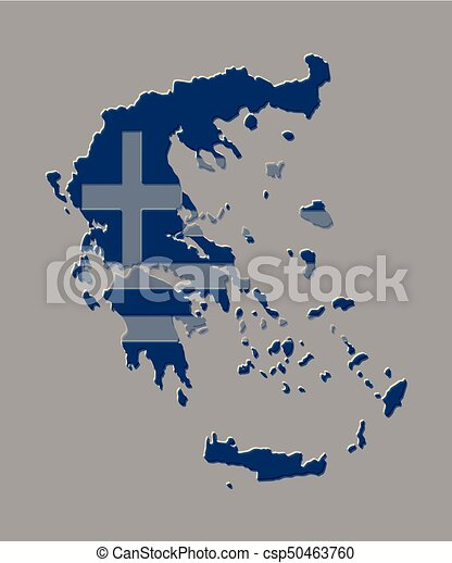 Greece map vector illustration with the greek flag