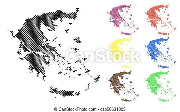 Greece map vector illustration, scribble sketch greece map.