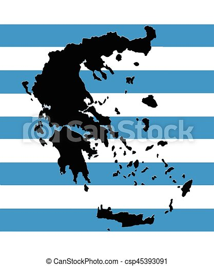 Greece map vector with the greek flag as background.