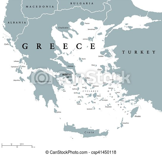 Greece political map with capital athens, with most important ...