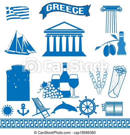 Greece traditional greek symbols - csp18566360