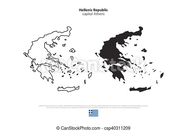 Greece Hellenic Republic Isolated Maps And Official Flag Icons