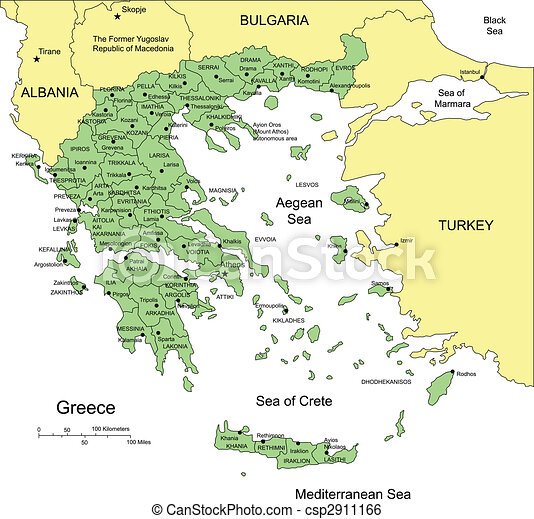 Greece with administrative districts and surrounding countries greece with administrative districts and surrounding countries csp2911166 gumiabroncs Choice Image
