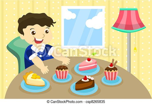 Greedy Boy A Boy Wants To Eat 5 Piece Of Cake
