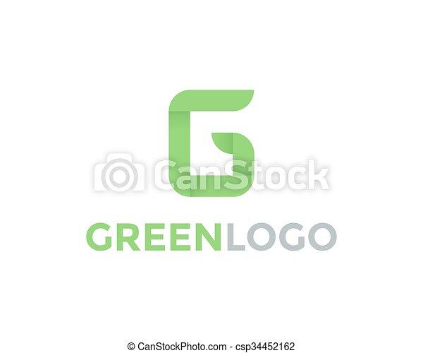 Greeen Letter G Logo - csp34452162