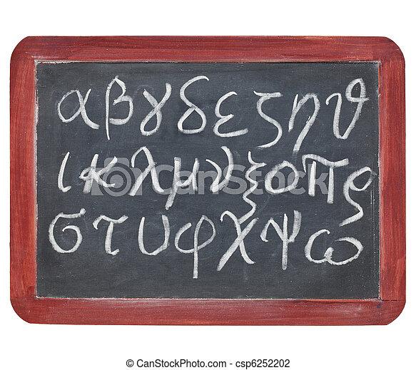 Greek alphabet on blackboard - csp6252202