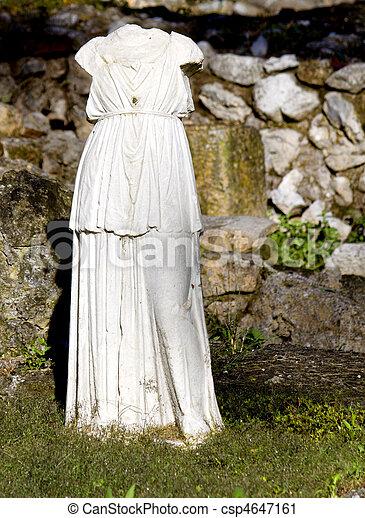 Greek archaic statue torso - csp4647161