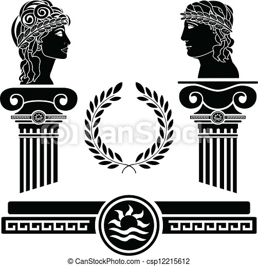 greek columns and human heads - csp12215612