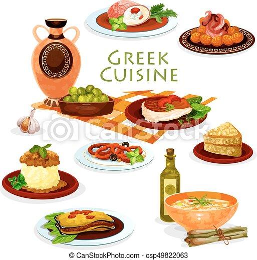 Greek Cuisine Healthy Lunch Dishes Cartoon Icon