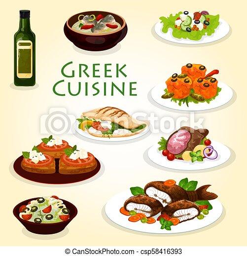 Greek dinner icon with mediterranean cuisine food. Greek ...