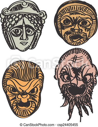 Greek drama masks. Classical greek theater mask set. vector ...
