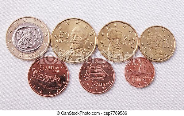 Greek euro coins - csp7789586