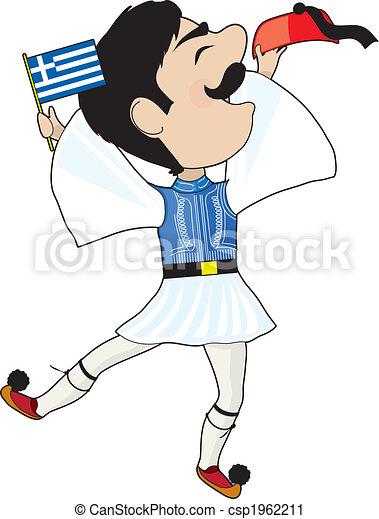 greek evzone dancing with flag a greek evzone dancing with a greek rh canstockphoto com greek clip art illustrations greek clip art borders
