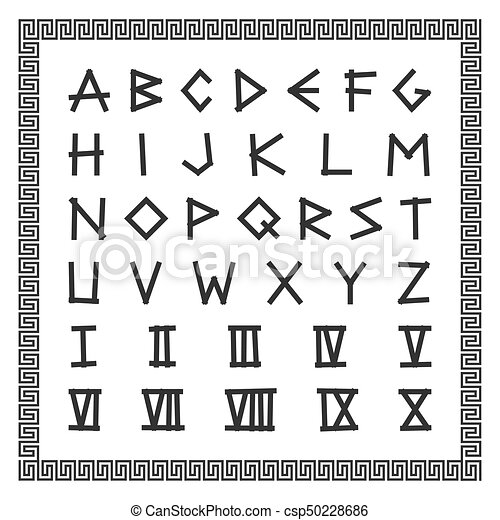 Greek Font Vector English Alphabet Ancient Latin Letters With Numerals