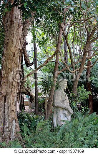 Greek Garden Statue With Trees   Csp11307169