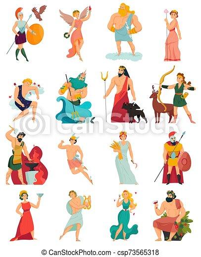 Greek Gods Cartoon Set