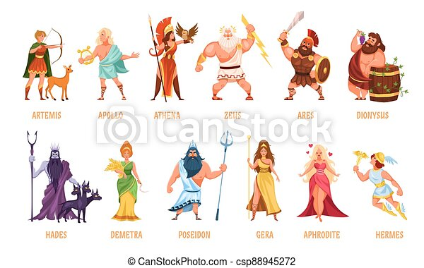 Greek Gods Pantheon Mythological Olympian Gods Ancient Greece Religion Women And Men Characters With Names Traditional Canstock