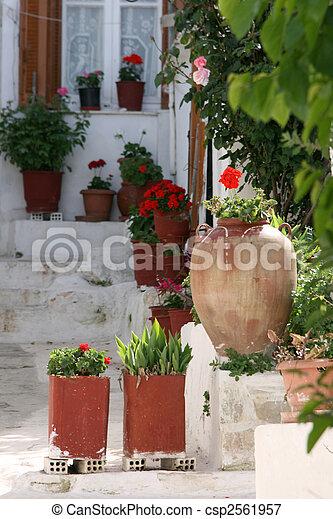 greek house in spring - csp2561957