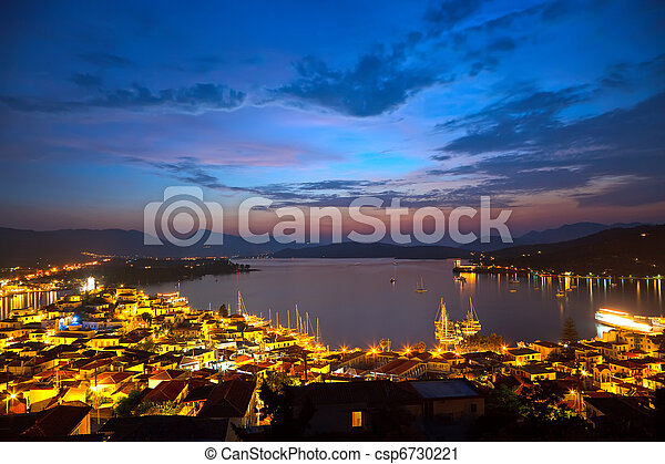 Greek islands at night, Poros - csp6730221