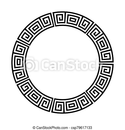 Greek key round frame. Typical egyptian, assyrian and greek motives circle  border. Clip Art | k68179199 | Fotosearch