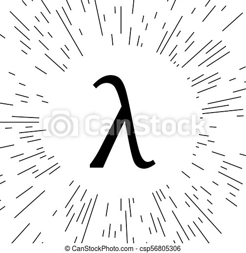 Greek Letter Lambda Symbol Against The Background Of The Rays