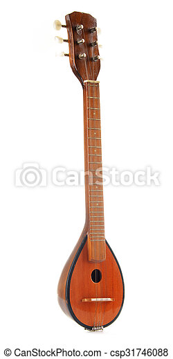 Greek musical instrument bouzouki isolated on white