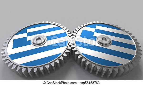 Greek national project. Flags of Greece on moving cogwheels. Conceptual 3D rendering - csp56168763