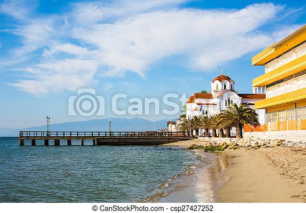 Greek orthodox Church in Paralia Katerini beach, Greece - csp27427252