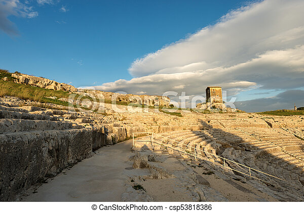 Greek Roman Theater in Syracuse - Sicily Italy - csp53818386