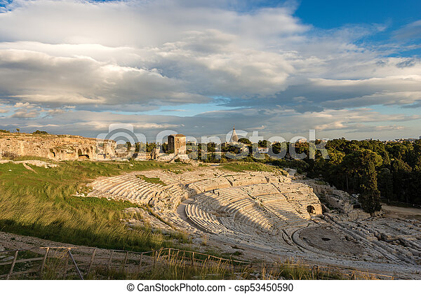 Greek Roman Theater in Syracuse - Sicily Italy - csp53450590