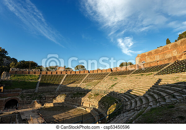 Greek Roman Theater in Taormina - Sicily Italy - csp53450596