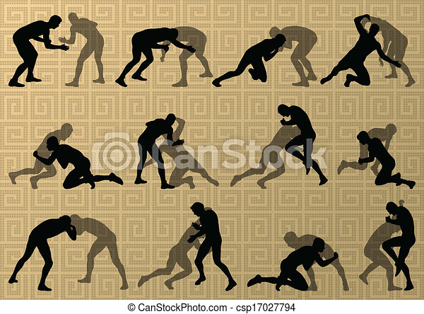 Greek roman wrestling active men sport silhouettes vector abstract background illustration - csp17027794