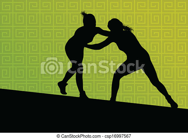 Greek roman wrestling active young women sport silhouettes vector abstract background illustration - csp16997567