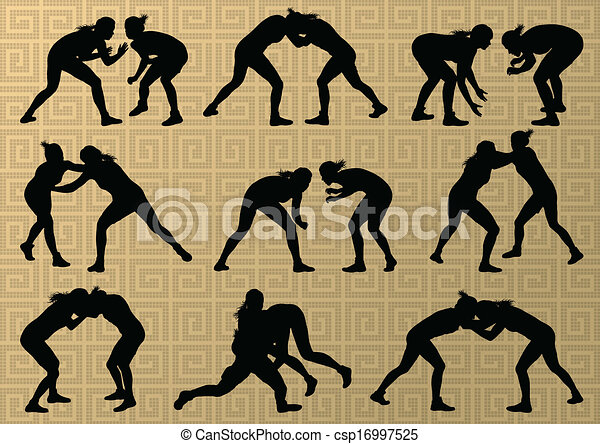 Greek roman wrestling active young women sport silhouettes vector abstract background illustration - csp16997525