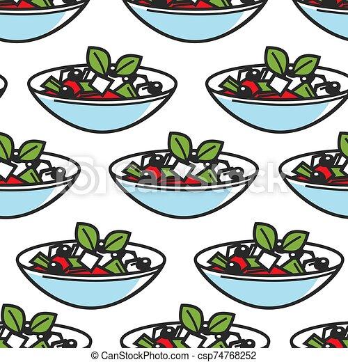 Greek salad dish seamless pattern Greece cuisine - csp74768252