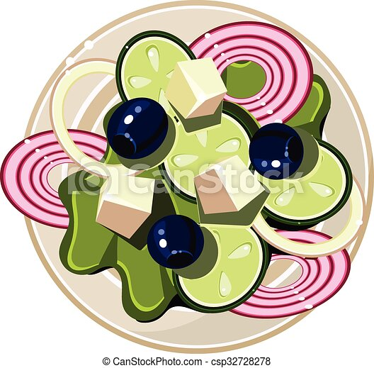 Greek Salad With Vegetables And Cottage Cheese Served Food Vector Illustration