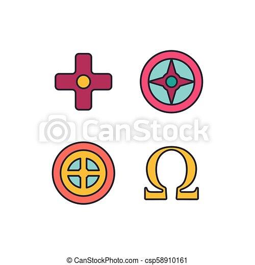 Greek symbols icon, cartoon style - csp58910161