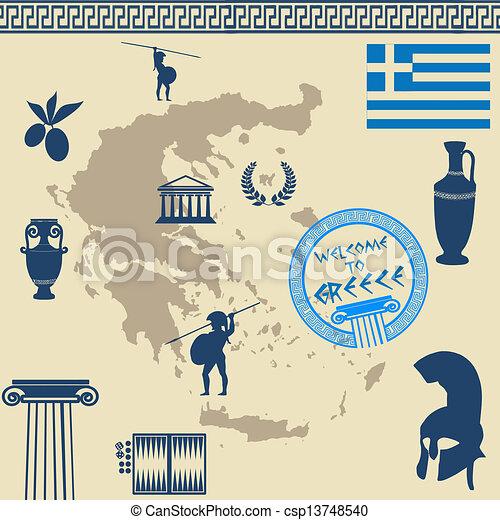 Greek symbols on the Greece map - csp13748540