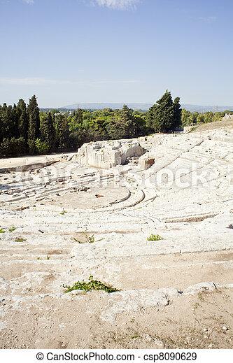 Greek theater, Neapolis of Syracuse - csp8090629