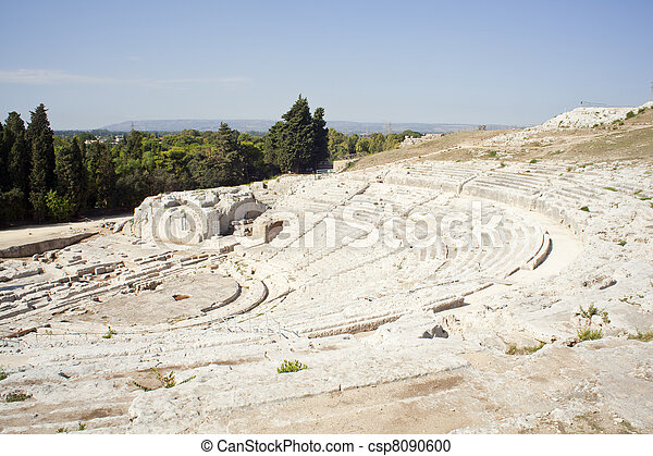 Greek theater, Neapolis of Syracuse - csp8090600
