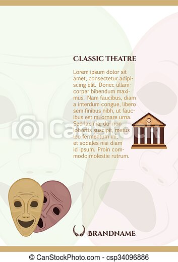 Greek Comedy And Tragedy Masks Pamphlet Template
