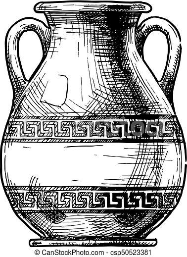 Greek Vase Pelike Pelike Vector Hand Drawn Sketch Of Ancient