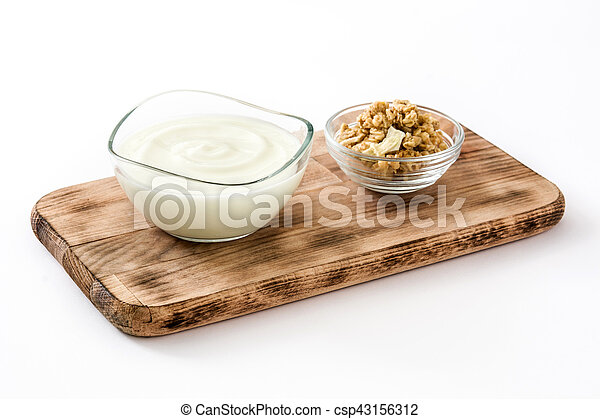 Greek Yogurt In Glass Bowl Isolated On White Background