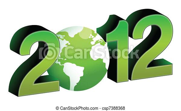 green 2012 year tex illustration - csp7388368