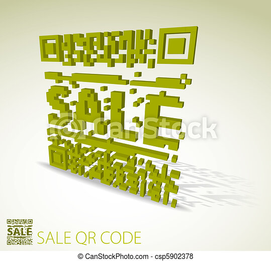 Green 3D qr code for discounted item  - csp5902378