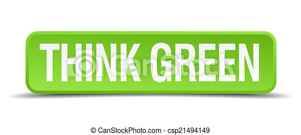 green 3d realistic square isolated button - csp21494149