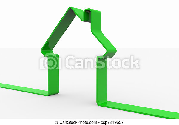 Green 3D sign of house.  - csp7219657